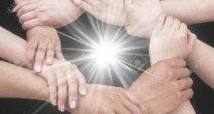 חיבור, ידיים, יחד, אור
